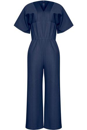 Women Jumpsuits - Women's Artisanal Navy Fabric Fiona Jumpsuit XL Bo Carter