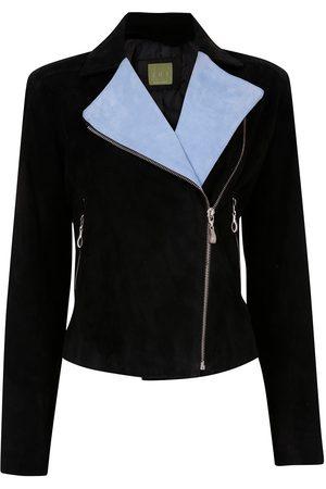 Women's Artisanal Black Leather Softest Suede Biker Jacket - Blue/ Medium ZUT London