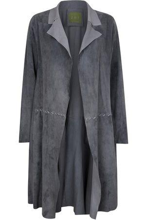 Women Leather Jackets - Women's Artisanal Grey Leather Long Classic Suede Jacket With Side Pockets Medium ZUT London