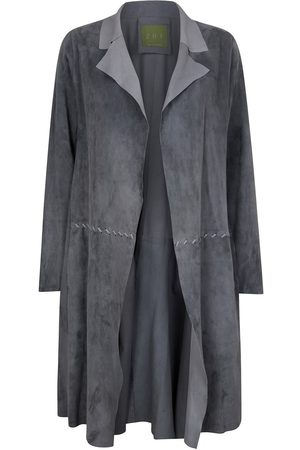 Women Leather Jackets - Women's Artisanal Grey Leather Long Classic Suede Jacket With Side Pockets Small ZUT London