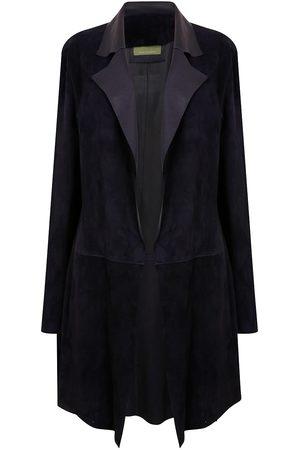 Women Leather Jackets - Women's Artisanal Navy Leather Long Classic Suede Jacket With Side Pockets - Dark Large ZUT London