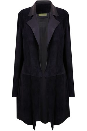 Women Leather Jackets - Women's Artisanal Navy Leather Long Classic Suede Jacket With Side Pockets - Dark Small ZUT London