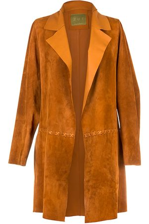 Women Leather Jackets - Women's Artisanal Natural Leather Long Classic Suede Jacket With Side Pockets - Honey XL ZUT London