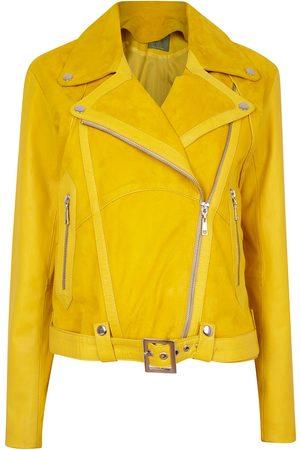 Women Leather Jackets - Women's Artisanal Yellow Leather Classic Combined Suede & Biker Jacket With Belt & Buckle Large ZUT London
