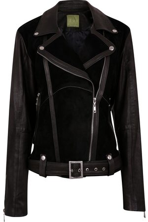 Women Leather Jackets - Women's Artisanal Black Leather Classic Combined Suede & Biker Jacket With Belt & Buckle Medium ZUT London