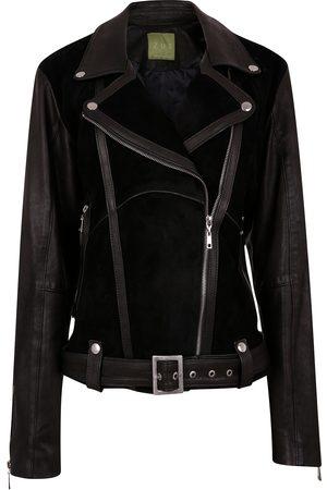 Women Leather Jackets - Women's Artisanal Black Leather Classic Combined Suede & Biker Jacket With Belt & Buckle XXL ZUT London
