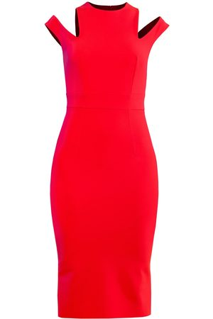 Women's Artisanal Red Below The Knee Pencil Dress With Shoulder Cutouts XS L'MOMO