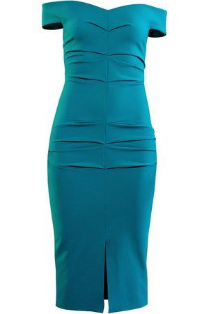 Women Strapless Dresses - Women's Artisanal Blue Off Shoulder Wrap Dress With Center Front Pleats XXS L'MOMO