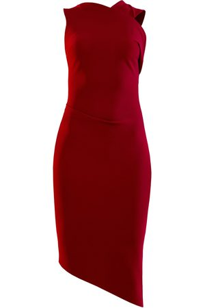 Women Asymmetrical Dresses - Women's Artisanal Red Folded Shoulder Strap Dress With Asymmetrical Hemline Large L'MOMO