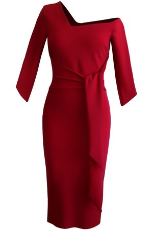Women Strapless Dresses - Women's Artisanal Red Off-Shoulder Sleeve Dress With Wrapped Bow Small L'MOMO