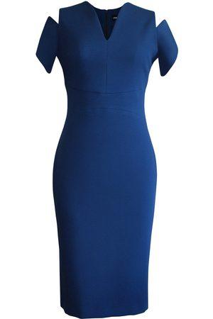 Women's Artisanal Blue Pencil Dress With Shoulder Cutouts Large L'MOMO