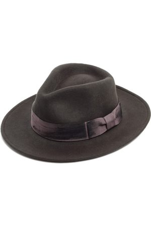 Men Hats - Artisanal Grey Wool Felt Fedora Hat For Men 55cm Justine Hats