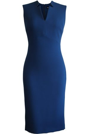 Women Pencil Dresses - Women's Artisanal Sleeveless Notched Collar Pencil Dress XXS L'MOMO