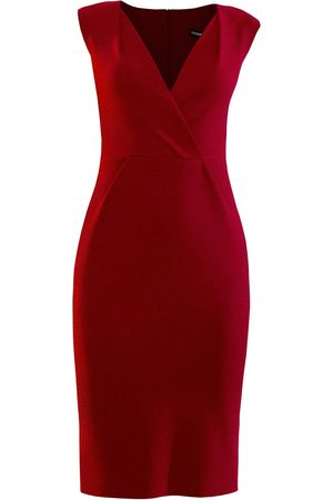 Women's Artisanal Red Pencil Dress With Shoulder Tucks Large L'MOMO