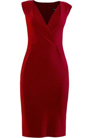 Women's Artisanal Red Pencil Dress With Shoulder Tucks XXS L'MOMO