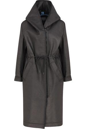 Women Parkas - Women's Artisanal Black Wool Neo Sable Pu & Oversize Parka Medium ShotOf