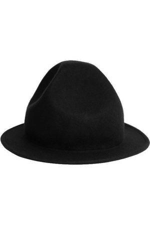 Men Hats - Artisanal Black Wool Men's Unique Felt Hat 56cm Justine Hats