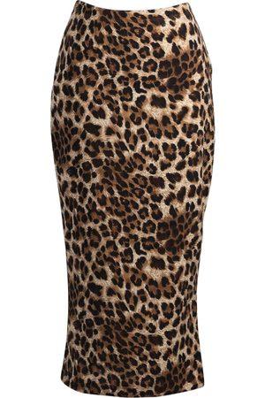 Women's Artisanal Ivory Leopard Pencil Skirt XS Jennafer Grace