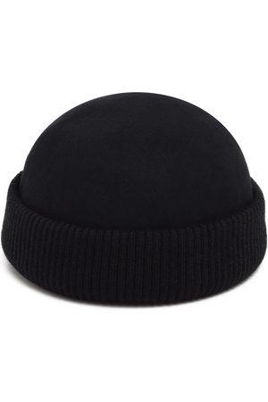Men Hats - Men's Artisanal Black Cotton Knitted Felt Hat 57cm Justine Hats