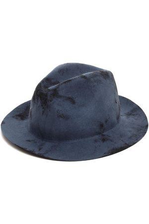 Men Hats - Men's Artisanal Blue Hand-Textured Felt Fedora 55cm Justine Hats