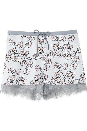 Women Pajamas - Women's Low-Impact Blue Mix & Match Floral Shorts Large Pretty You London
