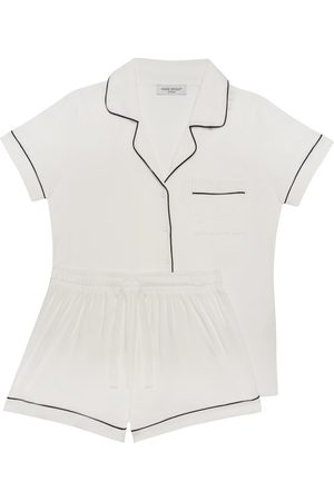 Women Pajamas - Women's Natural Fibres White Fabric Aria Short Pyjama In XL Made Wright London