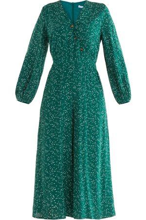 Women Jumpsuits - Women's Non-Toxic Dyes Green Fabric Speckle Print Jumpsuit XS PAISIE