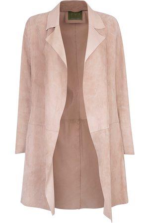 Women Leather Jackets - Women's Artisanal Natural Leather Long Classic Suede Jacket With Side Pockets Beige XXS ZUT London