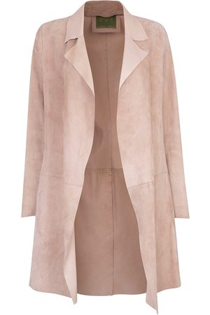Women's Artisanal Natural Leather Long Classic Suede Jacket With Side Pockets Beige Medium ZUT London