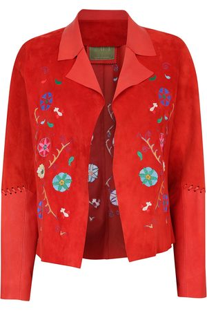 Women's Artisanal Red Leather Suede Short Embroide Jacket Large ZUT London