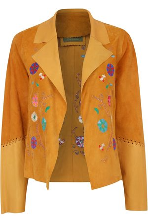 Women Leather Jackets - Women's Artisanal Natural Leather Suede Short Embroidered Jacket Honey Small ZUT London