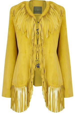 Women Leather Jackets - Women's Artisanal Yellow Leather Suede Embroidered Fringed Jacket Large ZUT London