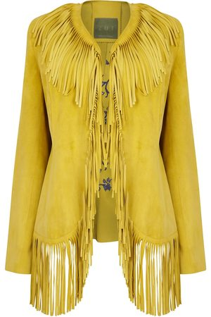 Women Leather Jackets - Women's Artisanal Yellow Leather Suede Embroidered Fringed Jacket Small ZUT London