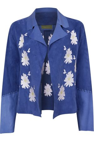 Women's Artisanal Blue Leather Suede Short Embroidered Jacket XL ZUT London