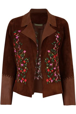 Women Leather Jackets - Women's Artisanal Brown Leather Suede Short Embroidered Jacket Chocolate Large ZUT London
