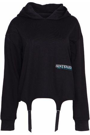 Women's Organic Black Cotton Missy Suspender Hoodie Large SENTENCED