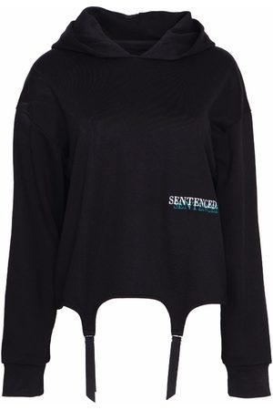 Women's Organic Black Cotton Missy Suspender Hoodie Medium SENTENCED