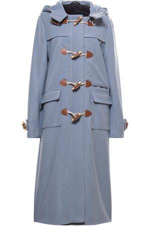 Women Duffle Coat - Women's Artisanal Blue Wool Heja Duffle Coat 'Cerulean' Large Tomcsanyi