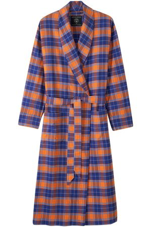 Men Boxer Shorts - Organic Blue Cotton Men's Tangerine Dream Brushed Dressing Gown XXL British Boxers