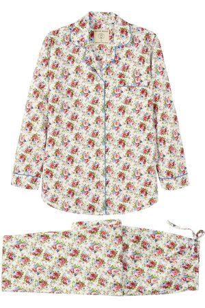 Women Pajamas - Organic Rose Cotton Women's Rosy Posy Pyjama Set Large British Boxers