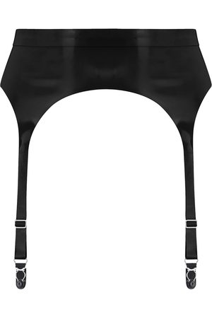Women Underwear Accessories - Women's Artisanal Black Latex Suspender Small Elissa Poppy