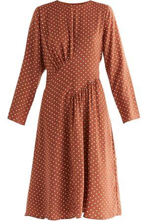 Women Asymmetrical Dresses - Women's Non-Toxic Dyes White Fabric Polka Dot Asymmetric Dress XS PAISIE