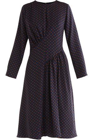Women's Non-Toxic Dyes Navy Fabric Polka Dot Asymmetric Dress Large PAISIE
