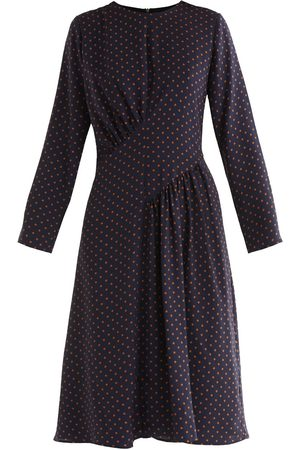 Women's Non-Toxic Dyes Navy Fabric Polka Dot Asymmetric Dress XS PAISIE