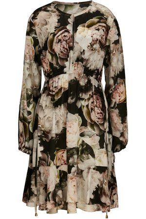 Women Printed Dresses - Women's Black Silk Isla Print Tunic Dress XL Ethereal London
