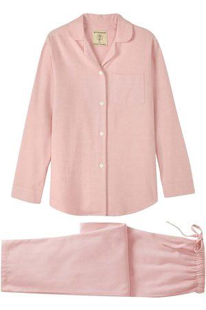 Women Pajamas - Organic Pink Cotton Women's Powder Herringbone Brushed Pyjama Set Large British Boxers