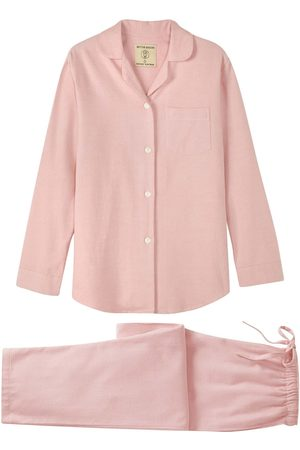 Women Pajamas - Organic Pink Cotton Women's Powder Herringbone Brushed Pyjama Set Medium British Boxers