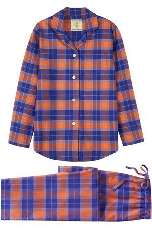 Women Pajamas - Organic Blue Cotton Women's Tangerine Dream Pyjama Set Small British Boxers