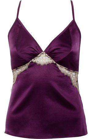 Women Sweats - Women's Artisanal Pink/Purple Silk Cleo Garnet Camisole XL Emma Harris