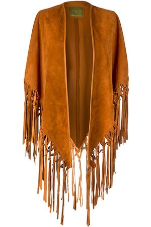 Women's Artisanal Brown Leather Suede Knotted Fringe Shawl ZUT London